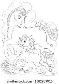 coloring page horse foal running 260nw