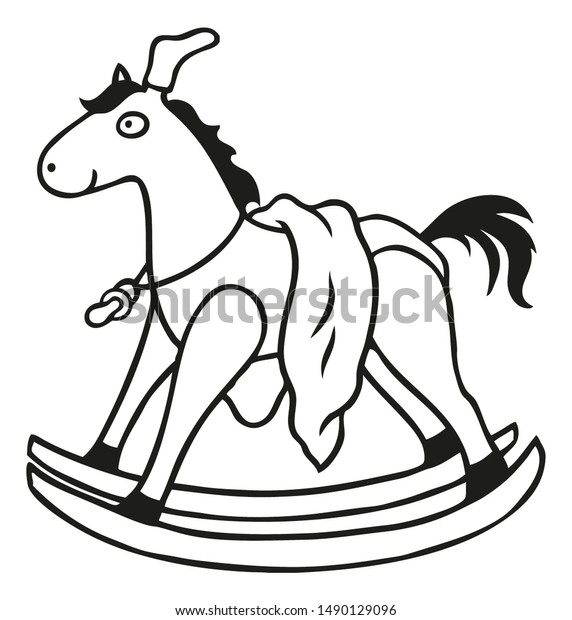 Coloring Page Illustration Rocking Horse Childrens | Objects ...