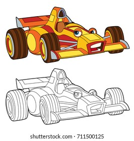 coloring page - isolated racing car - illustration for children