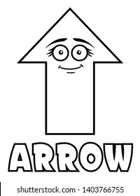Coloring page for kids arrow shape with goofy face