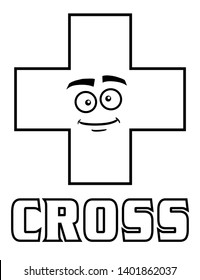 Coloring page for kids cross shape with goofy face