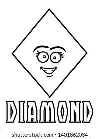 Coloring page for kids diamond shape with goofy face