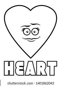 Coloring page for kids heart shape with goofy face