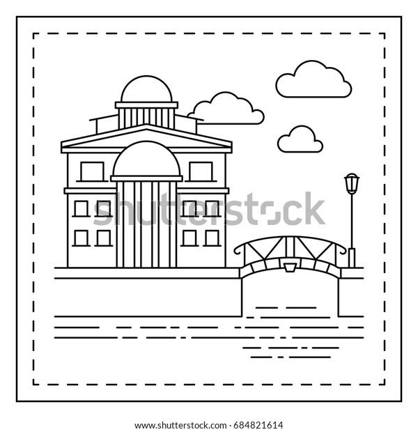Coloring Page Kids House Bridge Illustration Stock Illustration
