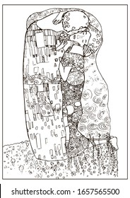 """Coloring page with """"Kiss"""" based on Gustav Klimt's painting. It was drawn by hand and is not an exact copy of the painting"""