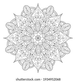 Coloring page mandala outline drawing for art therapy and meditation. Circular ornament