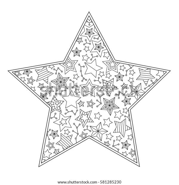 Coloring Page Mandala Star Shape Isolated Stock Illustration 581285230