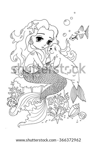 Coloring Page The Mermaid And Sea Cat