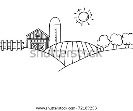 Coloring Page Outline Of Rolling Hills A Farm And Silo On Land
