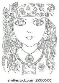 Coloring page pirate girl