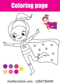 Coloring page with superhero girl. Drawing kids activity. Printable toddlers fun