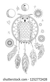 Coloring page with symbol moon, sun, jin yang, patterned owl and feathers for adult antistress coloring book, album, wall mural, art, tattoo. Black and white outline illustration.