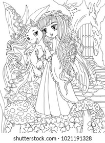 Coloring Page The Unicorn And Princess