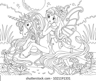 Adult Coloring Pages Unicorns Images Stock Photos Vectors