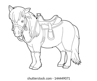The coloring page - the wild west - western - template - illustration for the children