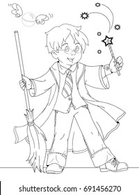 coloring page with wizard boy