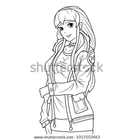 Coloring Page Of A Young Girl In Jacket Posing