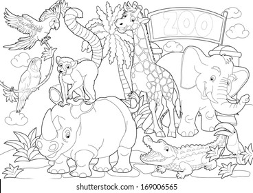 Zoo Coloring Pages Images Stock Photos Vectors Shutterstock