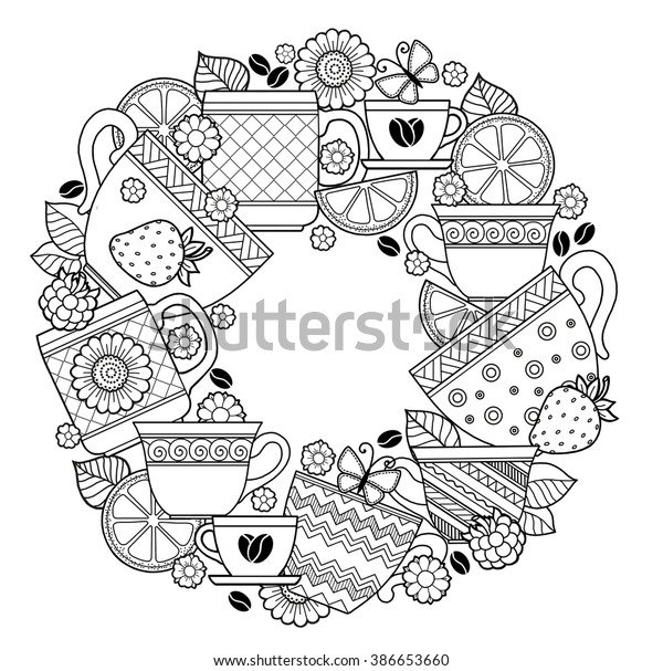 Coloring Pages Adult Cups Tea Coffeeflowers Stock