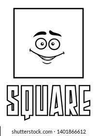 Coloring pages for kids square shape with goofy face