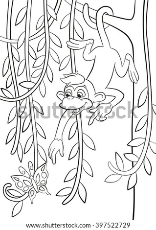 Coloring Pages Little Cute Monkey Is Hanging On The Tree Branch In Forest