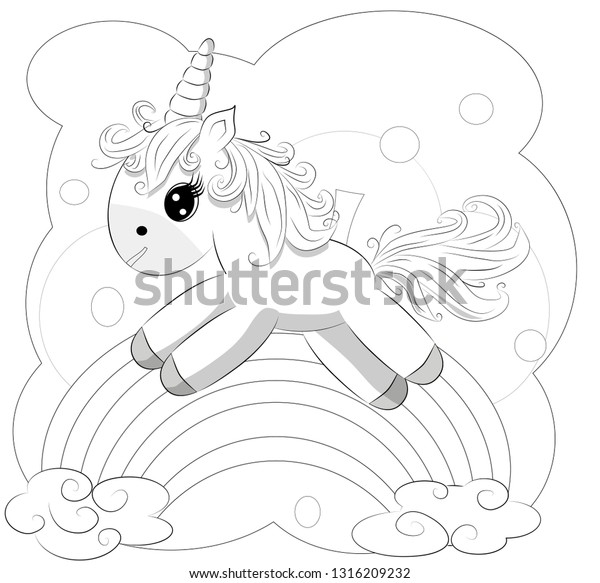 Coloring Pages Little Cute Pony Rainbow Stock Illustration 1316209232
