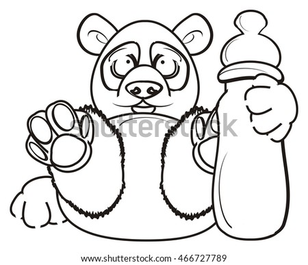 Coloring Panda Lies Holds Bottle Pacifier Stockillustration ...
