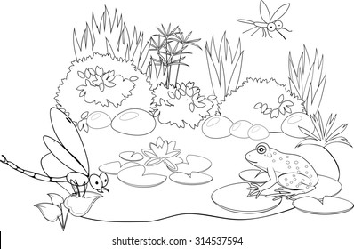Coloring Pond Stock Illustration - Royalty Free Stock Illustration ...