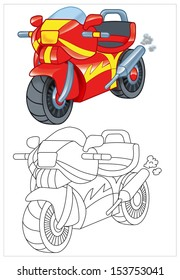 coloring of toy motorcycle motorbike