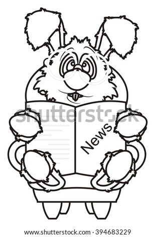 Coloring White Bunny Wearing Glasses Sitting Stock Illustration