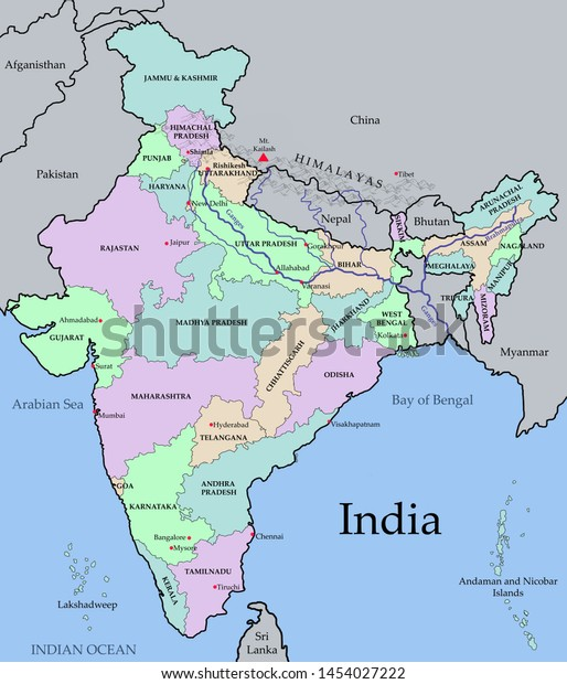 Colorized Map India States India Major Stock Illustration ...