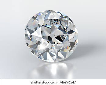 Colorless Old European cut diamond on glossy white background, close-up front view with slight shadow, reflection. 3D rendering illustration