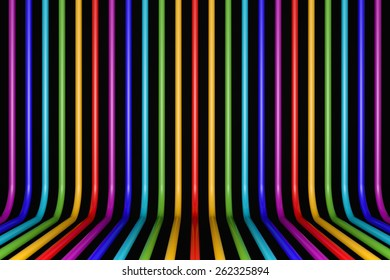 Colorored glossy pipes on black background
