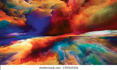 Colors Beyond Death. Escape to Reality series. Abstract arrangement of surreal sunset sunrise colors and textures suitable for projects on landscape painting, imagination, creativity and art