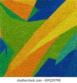 The Colors Of Brazil. The drawing is executed manually by the square sand or rubber crumb that is used to cover stadiums and sports arenas. The texture of the scattered grains for print design