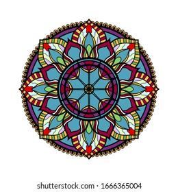 Colors mandala digital graphic design on white background.
