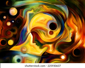 Colors of the Mind series. Interplay of elements of human face, and colorful abstract shapes on the subject of mind, reason, thought, emotion and spirituality