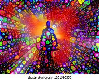 Colors of Soul. Spirit or aura. Vivid painting. 3D rendering