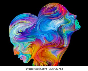 Colors of Unity series. Design composed of colorful and surreal human profiles as a metaphor on the subject of love, passion, romantic attraction and unity