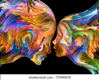 Colors In Us series. Arrangement of Human profiles and swirls of colorful paint on the subject of emotion, passion, desire, feelings, inner world, imagination and creativity