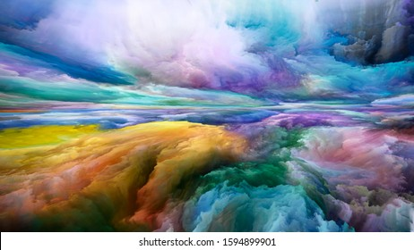 Colors Without End. Landscapes of the Mind series. Abstraction of bright paint, motion gradients and surreal mountains and clouds relevant for life, art, poetry, creativity and imagination