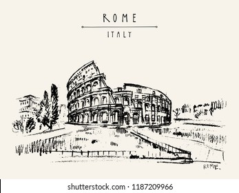 The Colosseum, Coliseum, or the Flavian Amphitheatre - amphitheatre in Rome, Italy, Europe. Vintage travel sketch. Retro style touristic postcard, poster template or book illustration