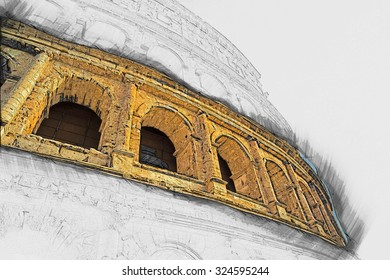 Colosseum (Coliseum) in Rome, Italy. The Colosseum is an important monument of antiquity and is one of the main tourist attractions of Rome. Painting of travel scene, pencil outlines of background.