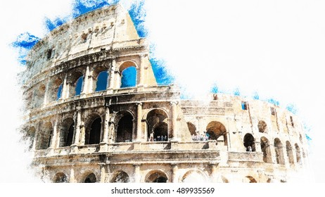Colosseum, Coliseum in Rome, Italy. Modern painting, background illustration, beautiful picture creative image