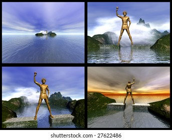 Colossus of Rhodes. 3D reconstructions