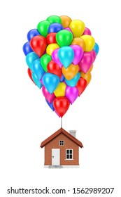 Colour Flying Balloons up the Modern House on a white background. 3d Rendering