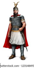 Colour illustration of Ancient Albanian King Scanderberg isolated on white background