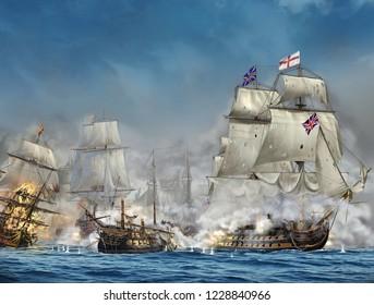 Colour illustration of the battle of Trafalgar