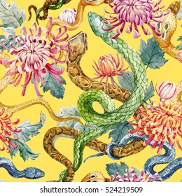 Colour pencils pattern with snakes and flowers. chrysanthemum flowers. yellow background