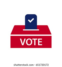 Coloured ballot box illustration with a mark on it on white background. Vote boxes are used for votes gathering.